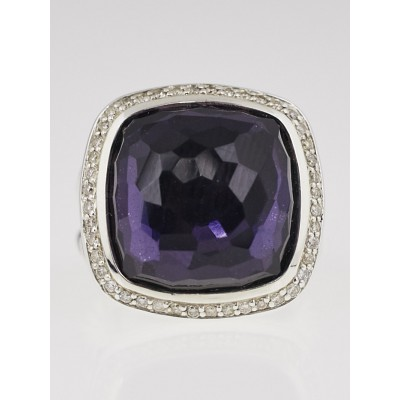 David Yurman 17mm Black Orchid and Diamond Albion Ring Size 6.5