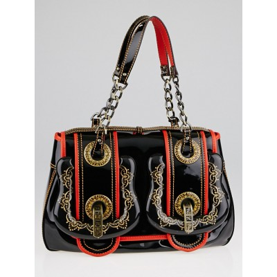 Fendi Black/Red Patent Leather and Acrylic Filigree B Bag