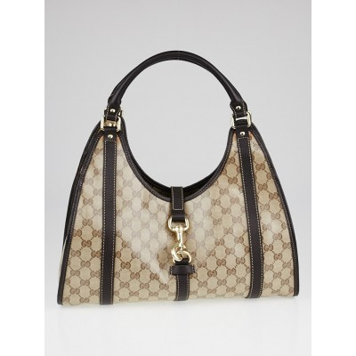 Gucci Beige/Ebony Crystal Coated Canvas Bardot Shoulder Bag