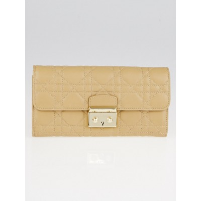Christian Dior Beige Cannage Quilted Lambskin Leather Miss Dior Wallet