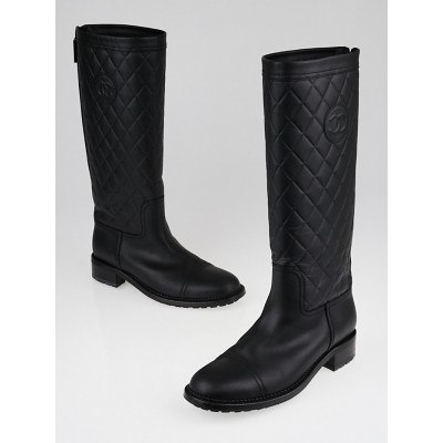 Chanel Black Quilted Calfskin Leather Knee High Boots Size 9.5/40