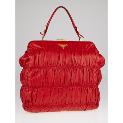 Prada Red Gaufre Nappa Leather Dressy Frame Top Bag
