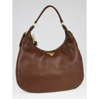 Prada Brown Vitello Daino Leather Hobo Bag BR4314