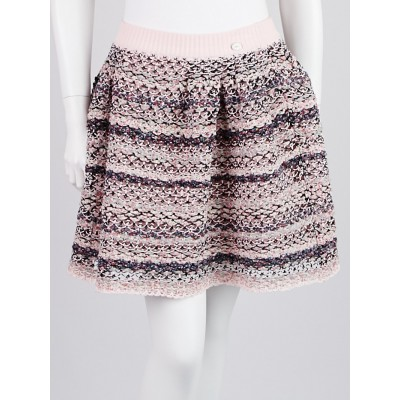 Chanel Multicolor Knit Cotton Blend Mini Skirt Size 8/40