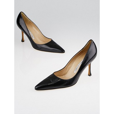 Manolo Blahnik Black Leather Blixa Pointed Toe Pumps Size 9.5/40