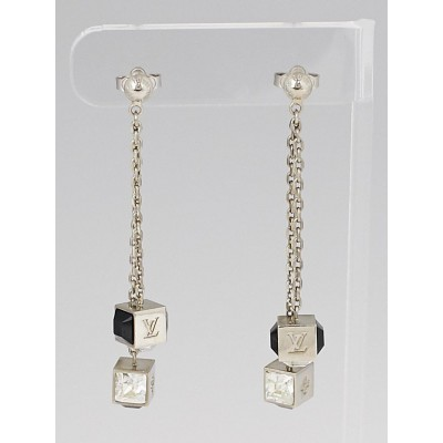 Louis Vuitton Silvertone Metal Chain and Swarovski Crystal Gamble Drop Earrings