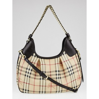 Burberry Chocolate Brown Leather Haymarket Check Coated Canvas Chain Strap Hobo Bag