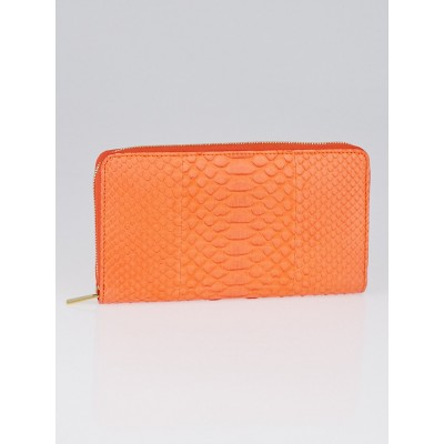 Celine Orange Python Large Zipped Multifunction Wallet