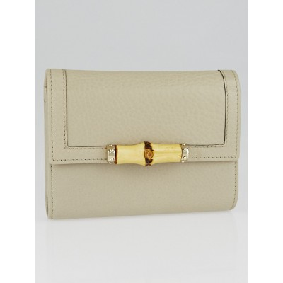 Gucci White Pebbled Leather Bamboo Compact Tri-Fold Wallet