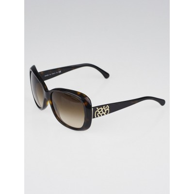 Chanel Brown Tortoise Frame Camellia Print Sunglasses-5248