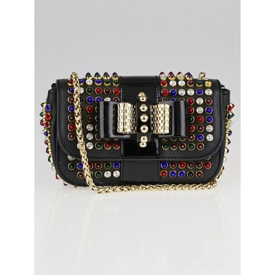 Christian Louboutin Black Leather and Multicolor Spike Mini Sweet Charity Bag