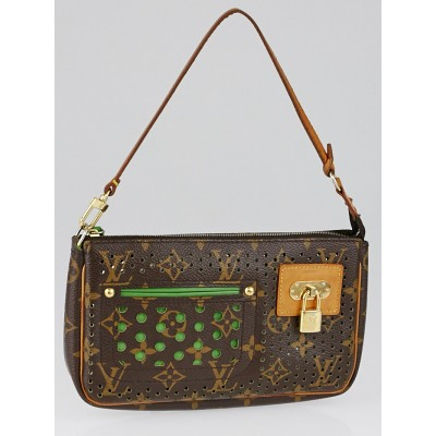 Louis Vuitton Limited Edition Monogram Perforated Green Accessories Pochette Bag