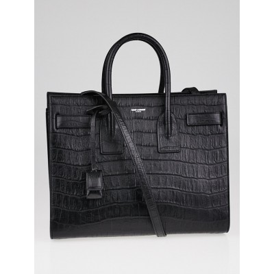 Yves Saint Laurent Black Crocodile Embossed Calfskin Leather Small Sac de Jour Bag