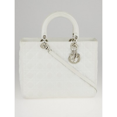 Christian Dior White Cannage Quilted Lambskin Leather Large Lady Dior Bag