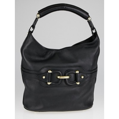 Burberry Black Leather Hobo Bag