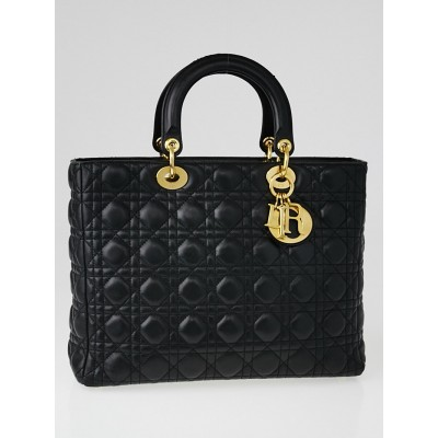 Christian Dior Black Quilted Cannage Leather Large Lady Dior Bag