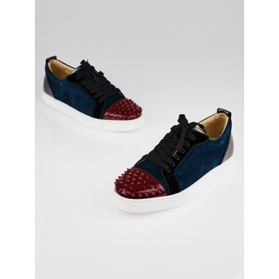Christian Louboutin Blue Suede and Patent Leather Louis Junior Spikes Sneakers Size 9.5/40