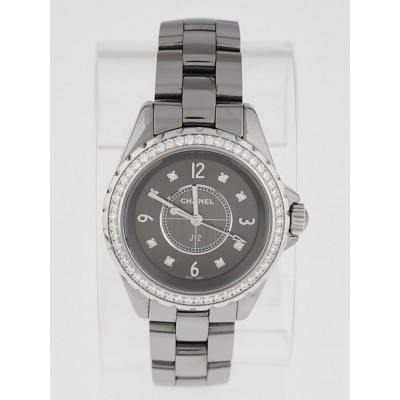 Chanel J12 Titanium Ceramic and Diamonds 33mm Quartz Watch-H2565