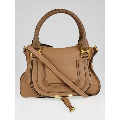 Chloe Nut Pebbled Calfskin Leather Medium Marcie Satchel Bag