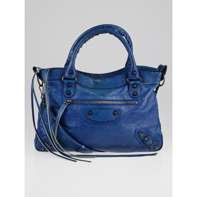 Balenciaga Bleu Cobalt Lambskin Leather Motorcycle Town Bag