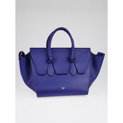 Celine Dark Indigo Crisped Calfskin Leather Small Tie Tote Bag