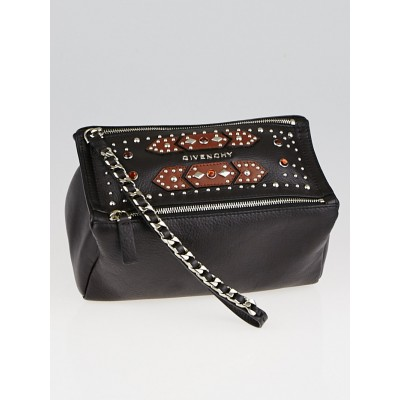Givenchy Dark Brown Calfskin Leather Studded Wristlet Bag