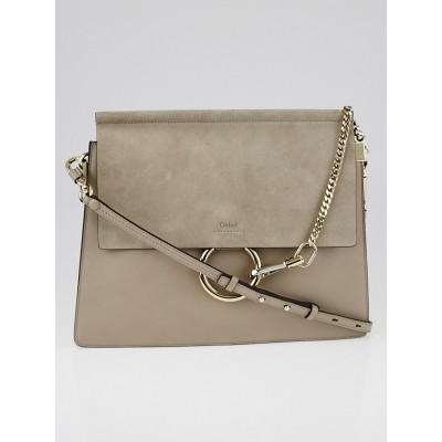 Chloe Motty Grey Leather and Suede Faye Medium Shoulder Bag