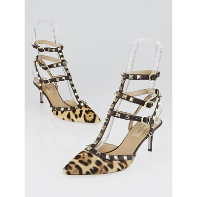 Valentino Brown Leopard Print Pony Hair and Leather Rockstud T-Strap Kitten Heel Pumps Size 6.5/37