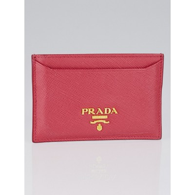 Prada Peonia Saffiano Metal Leather Card Holder 1M0208