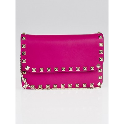 Valentino Fuchsia Leather Rockstud Flap Crossbody Chain Bag