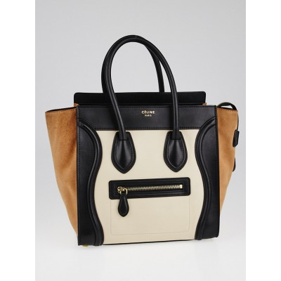 Celine Black/Ivory Tricolor Leather Micro Luggage Tote Bag