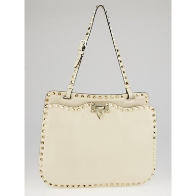 Valentino Ivory Leather Rockstud Shoulder Bag