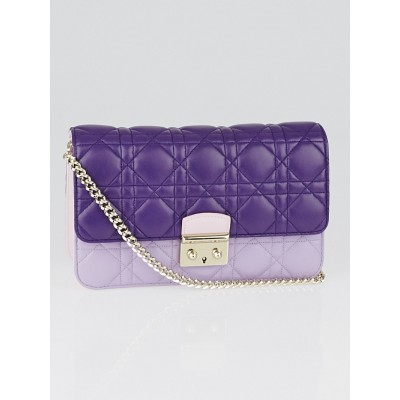 Purple Tri-Color Cannage Quilted Lambskin Leather Miss Dior Large Promenade Bag