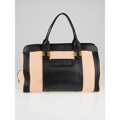 Chloe Sunrise/Black Leather Colorblock Large Alice Satchel Bag