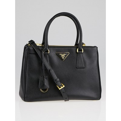 Black Saffiano Lux Leather Double Zip Small Tote Bag BN2863