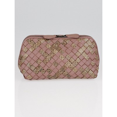 Bottega Veneta Lilac Intrecciato Woven Nappa Leather and Ayers Cosmetic Case
