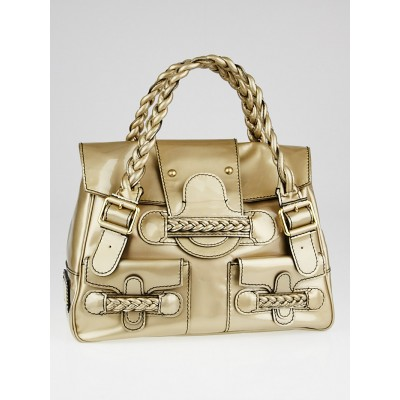 Valentino Garavani Gold Patent Leather Histoire Satchel Bag