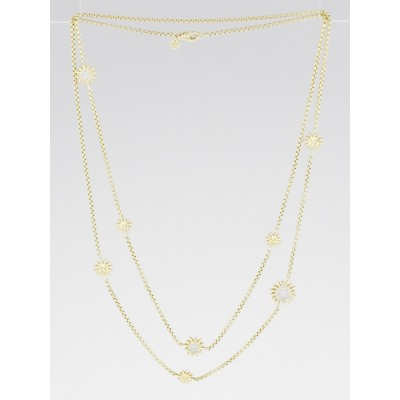 David Yurman 18k Yellow Gold Starburst Station Diamond Necklace