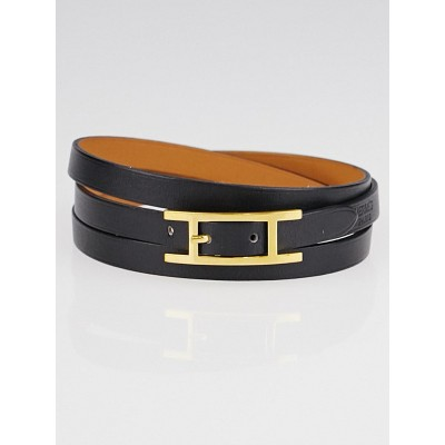 Hermes Black Chamonix Leather Gold Plated Hapi 3 MM Bracelet Size GM