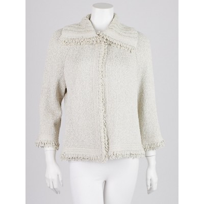 St. John Cream Polyester Blend Knit Cardigan Sweater Size M