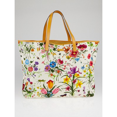 Gucci Botanical Floral Canvas Print XL Tote Bag