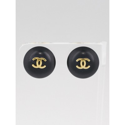 Chanel Goldtone and Black CC Clip-On Earrings