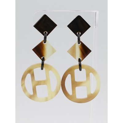 Hermes Brown Buffalo Horn Lena Clip-On Earrings