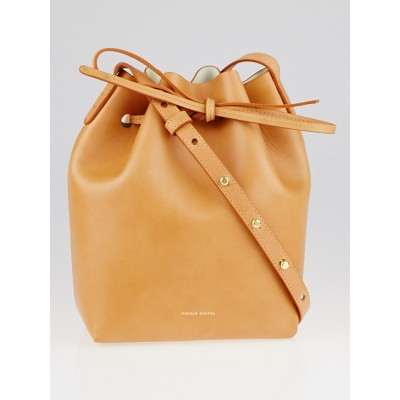 Mansur Gavriel Cammello/Creme Vegetable Tanned Leather Mini Bucket Bag