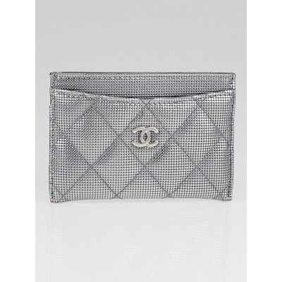 Chanel Silvertone Quilted Textured Leather Card Holder