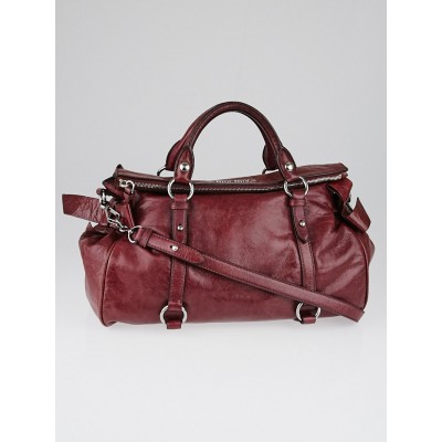 Miu Miu Dark Pink Vitello Lux Leather Bow Top Handle Bag