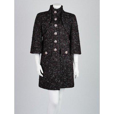 Chanel Black/Red Fantasy Tweed Coat Size 12/44