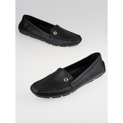 Gucci Black Leather Interlocking G Driving Loafers Size 10.5/41