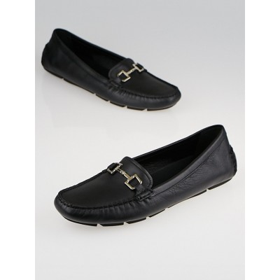 Gucci Black Leather Horsebit Driving Loafers Size 10.5/41