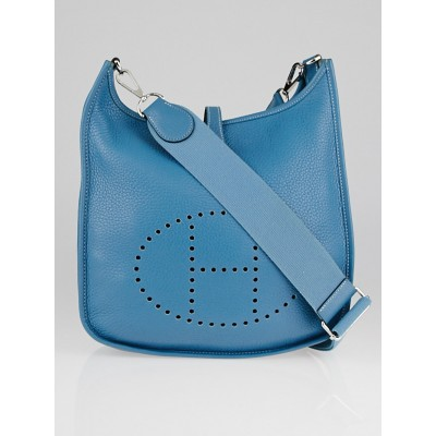 Hermes Blue Jean Clemence Leather Evelyne III PM Bag